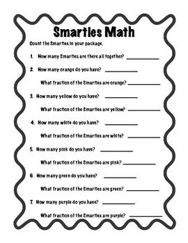 Smarties fraction math candy math activities 3rd grade smarties fraction math candy math activities fandeluxe Gallery