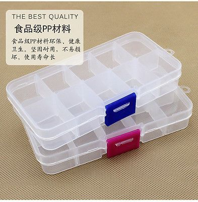 10 Grid Compartments Plastic Jewelry Bead Organizer Box Removable Storage Container Sort Case Plastic Box Storage Bead Storage