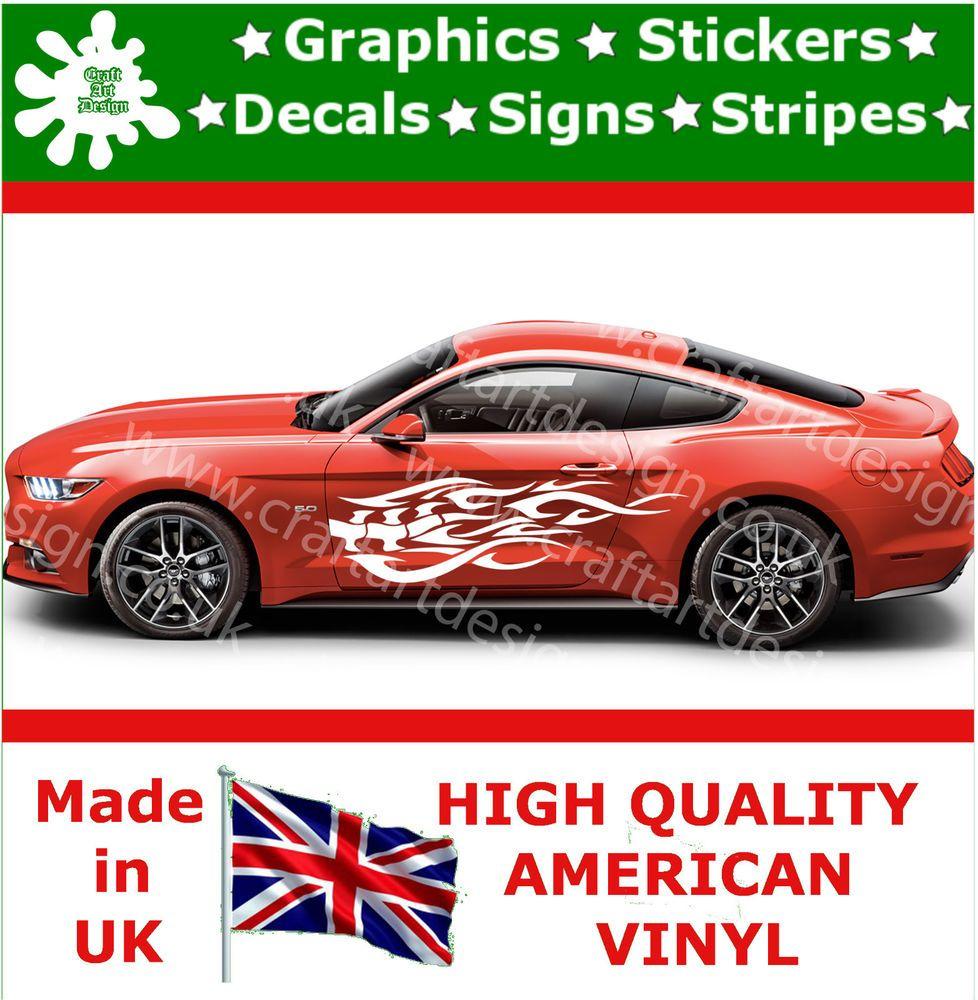 Sport car sticker design - Ford Mustang Large Side Racing Stripe Car Sticker Kit Vinyl Race Tattoo Bones 10