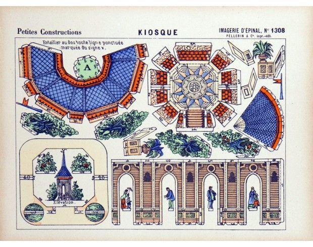 Imagerie d'Epinal. Petites Constructions n1308 Kiosque.