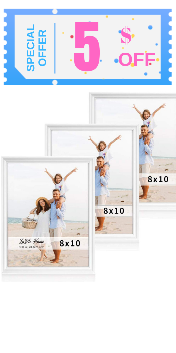 Minimalist Line Design Lavie Home 8 X 10 White Picture Frame Is Designed With A Simple Slightly Curved Frame And It Looks Bright White Picture Frames 8x10 Picture Frames Frame