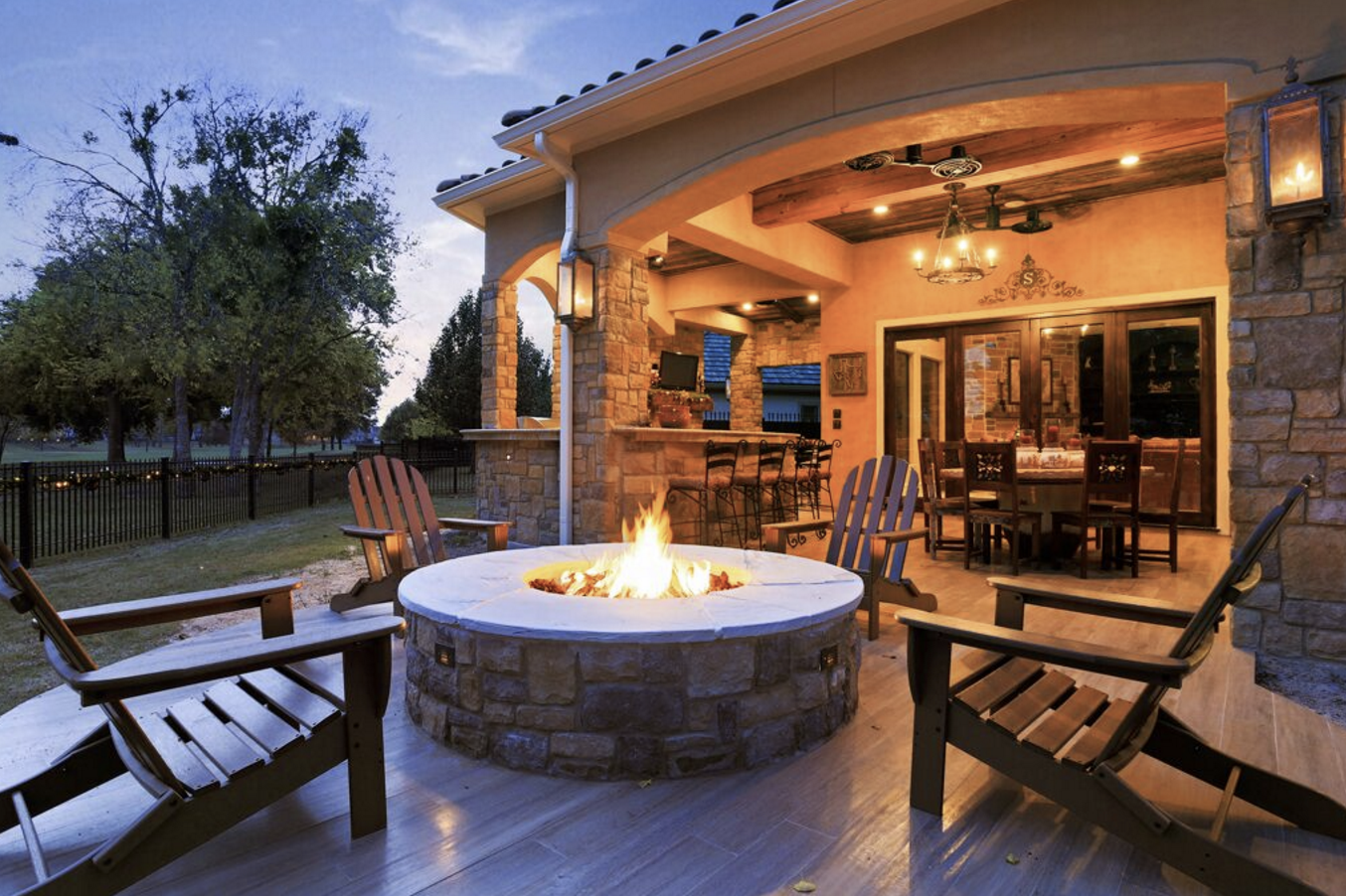 Stunning Fire Feature For A Patio By Texas Custom Patios