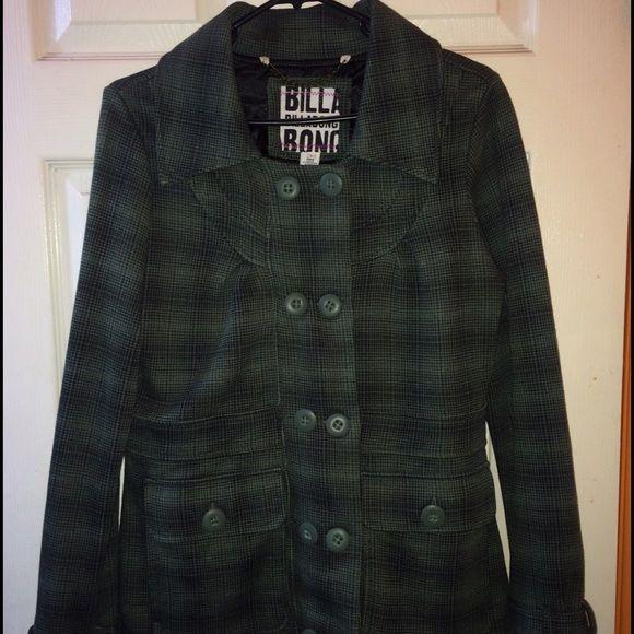 A green plaid peacoat Billabong! A green peacoat. Used once. In great condition. Billabong Jackets & Coats Pea Coats