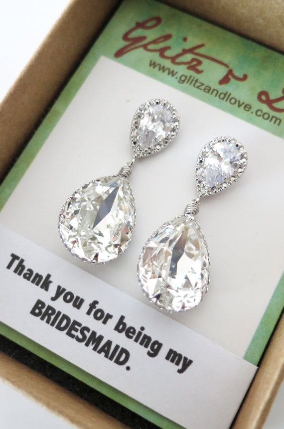 Swarovski Crystal Teardrop Earrings, Silver, gifts for her, Bridesmaid Earrings, Bridal Jewelry, Wedding Jewelry, hollywood pretty, www.glitzandlove.com
