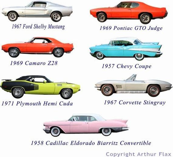 Items similar to Classic Muscle Cars Set of Two Wall Decals Stickers, Vintage Cars Wall Stickers, Boys Room Decals, Man Cave Decor,Kids Wall Decals on Etsy
