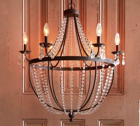 Quinn Iron Crystal Chandelier Foyer Lighting Fixtures Dining Light Fixtures Rustic Chandelier