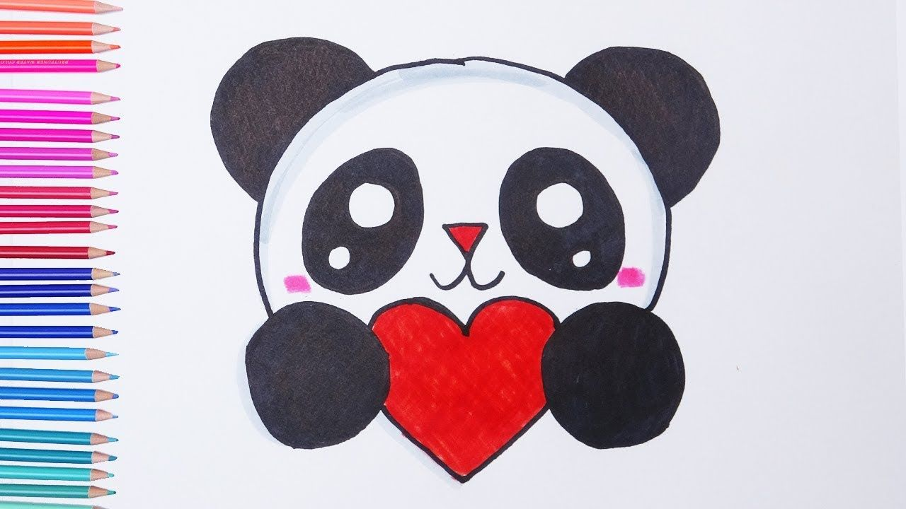 How To Draw Cute Panda With Heart Easy Drawings Easy Drawings Easy Heart Drawings Cute Easy Drawings