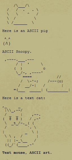 How To Make Animals And Pictures With Text Letters Ascii Art