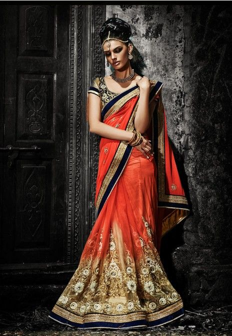 Orange Embroidered Georgette & Shaded Net Party Wear Saree