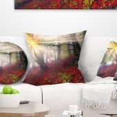 East Urban Home Sun in Forest After Heavy Storm Landscape Photography Throw Pillow