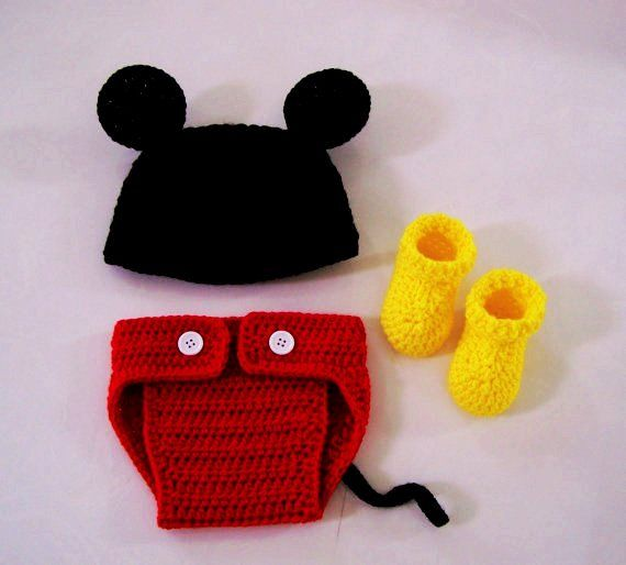 Crochet Mickey Mouse Set / Crochet Mickey Mouse Hat, Diaper Cover ...
