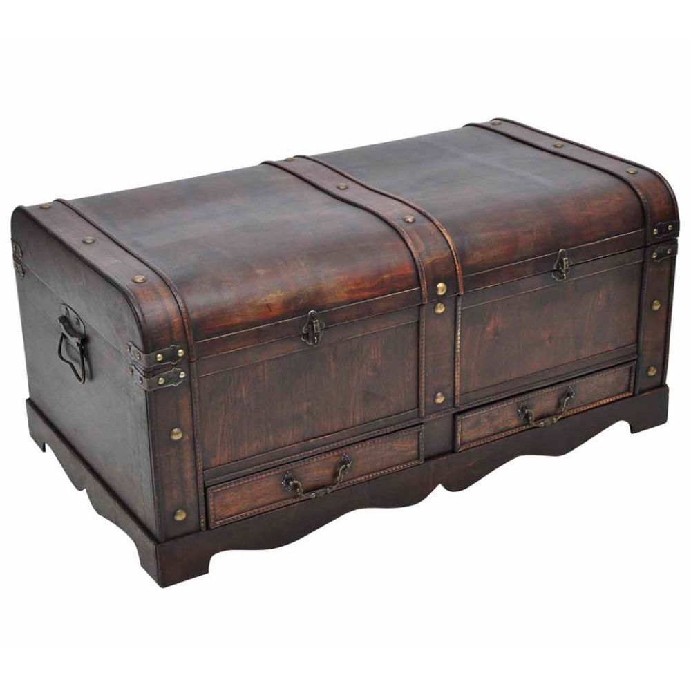 Superbe Wood Storage Chest Vintage Antique Trunk Wooden Pirate Treasure Box  Furniture