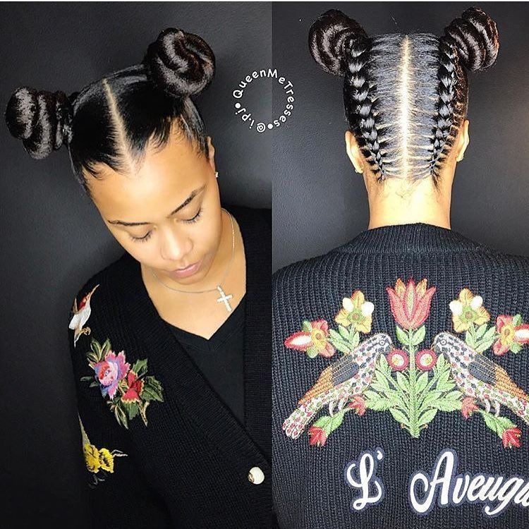 Cute Two Buns Totally Love This Hair Style How About You Girls Repost Braids Hairstyles Cute Braided Bun Hairstyles Natural Hair Styles Hair Styles