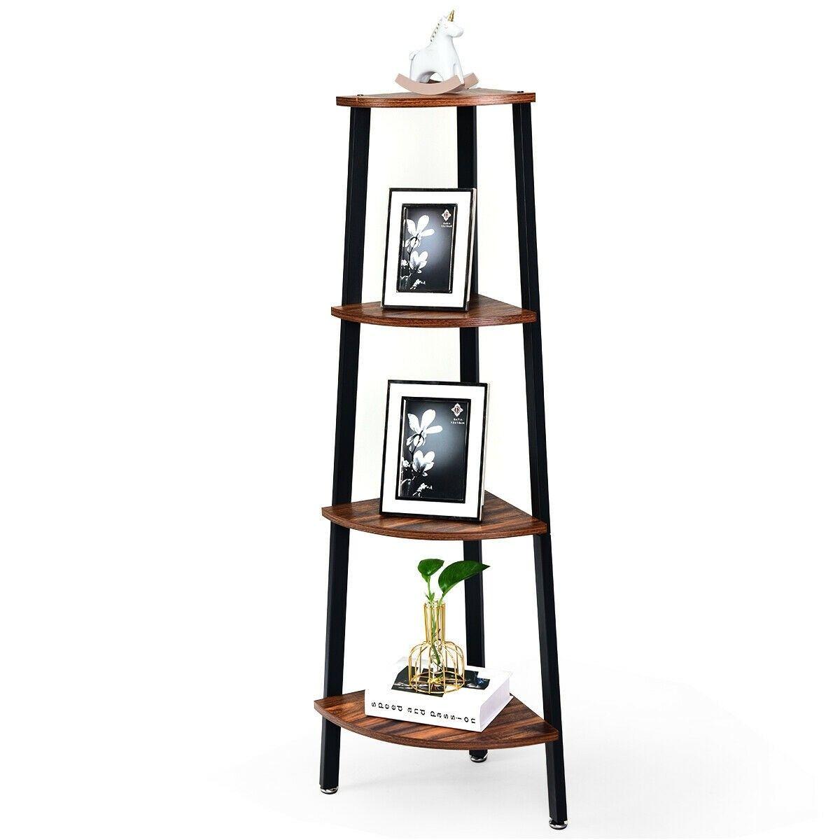 4 Tier Corner Shelf Metal Storage Rack Domestic Bookcase Corner Shelf Design Shelves Metal Storage Racks