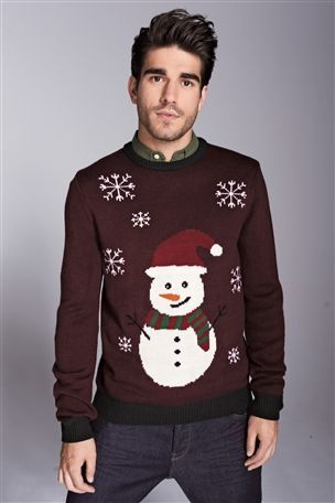 Burgundy Snowman Crew | Men's Christmas jumpers | TRİKOLAR ...