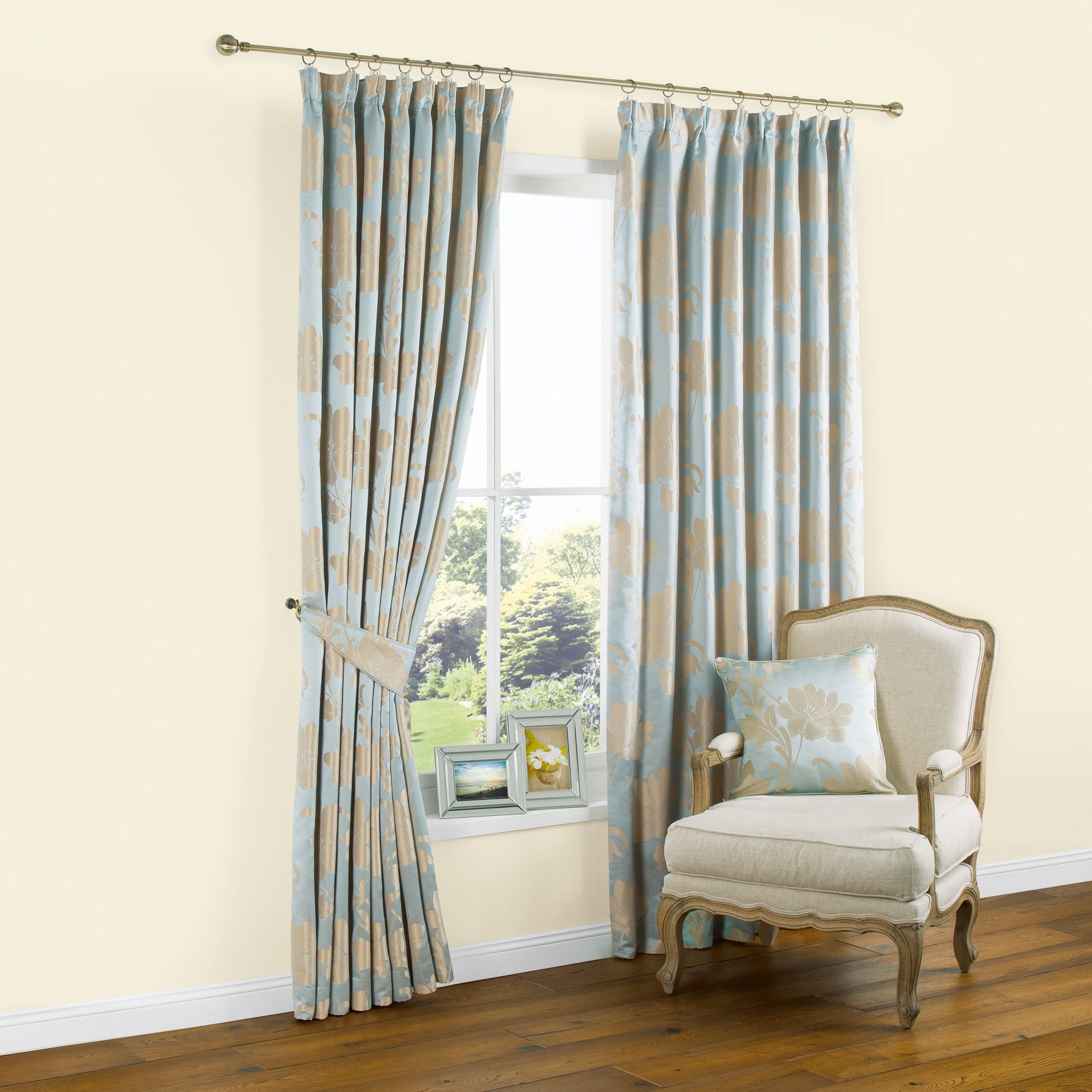 Caraway duck egg u gold effect floral jacquard pencil pleat curtains