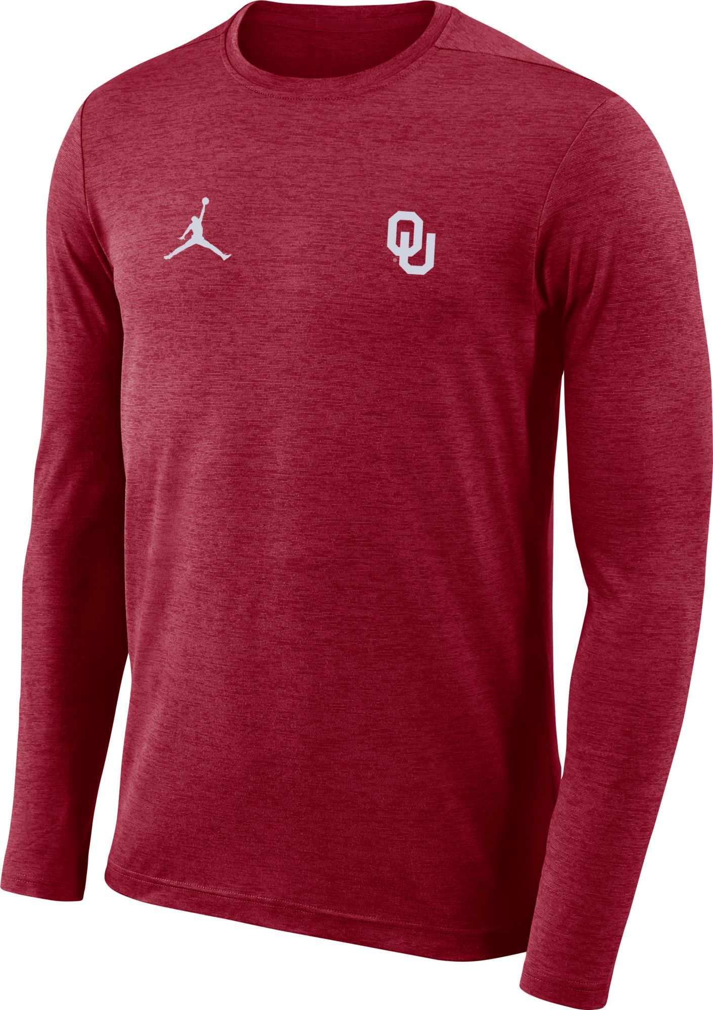 f4dc7f148c3444 Jordan Men s Oklahoma Sooners Crimson Football Dri-FIT Coach Long Sleeve T- Shirt