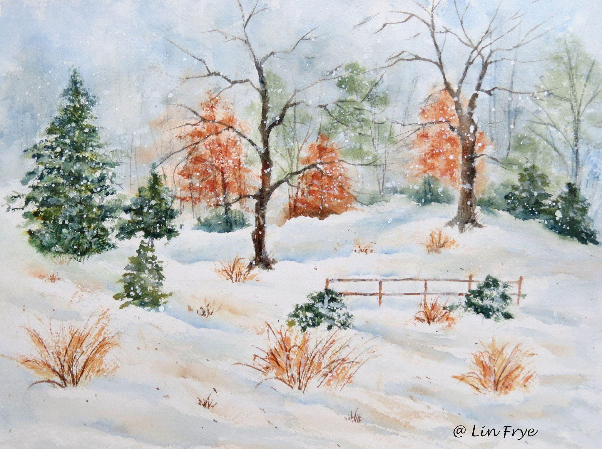 backyard snow snow watercolor and acrylics