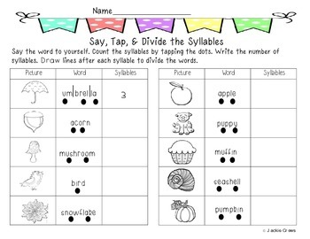 Syllable Count Say Divide And Write Word Wall Cards Syllable First Grade Reading