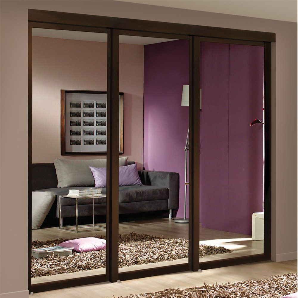 Espresso Mirrored Sliding Closet Door Lowe S Canada