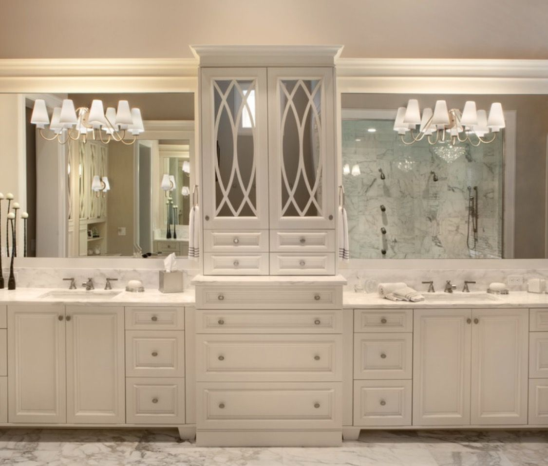 White Mold In Bathroom: Marble With Off White Cabinetry