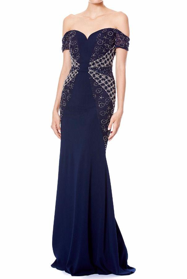 off-the-shoulder gown - Blue Badgley Mischka VdpSxvPop