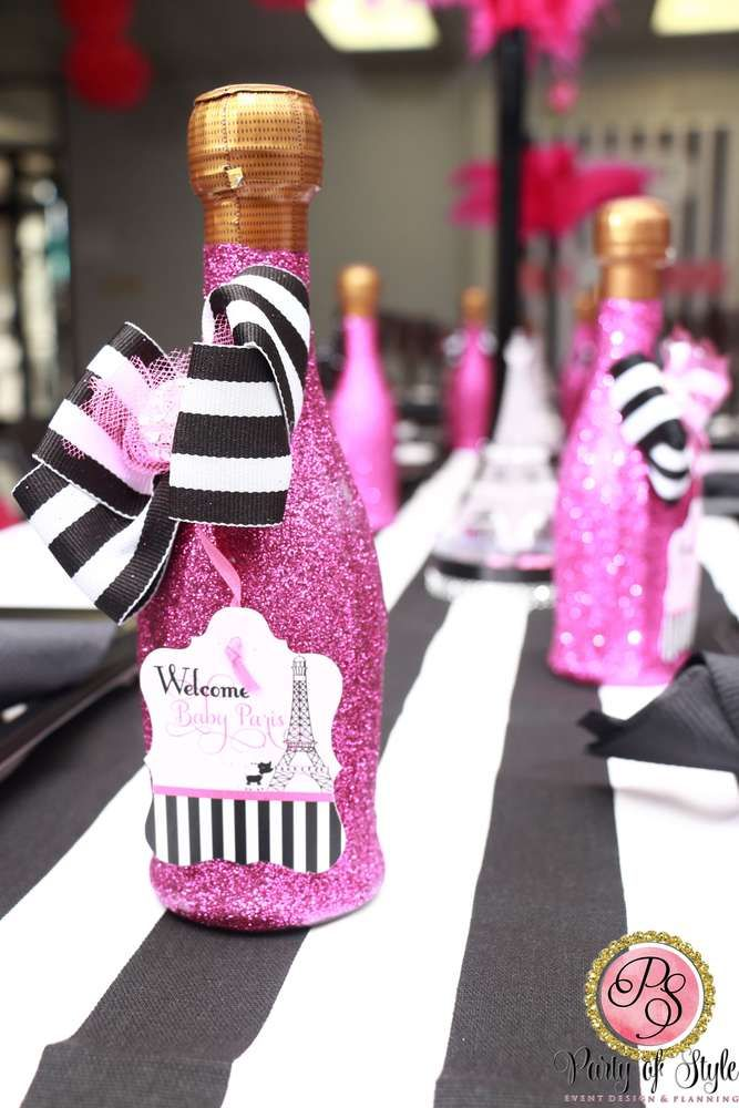 Pink Glitter Bottle Favors At A Paris Baby Shower Party! See More Party  Planning Ideas