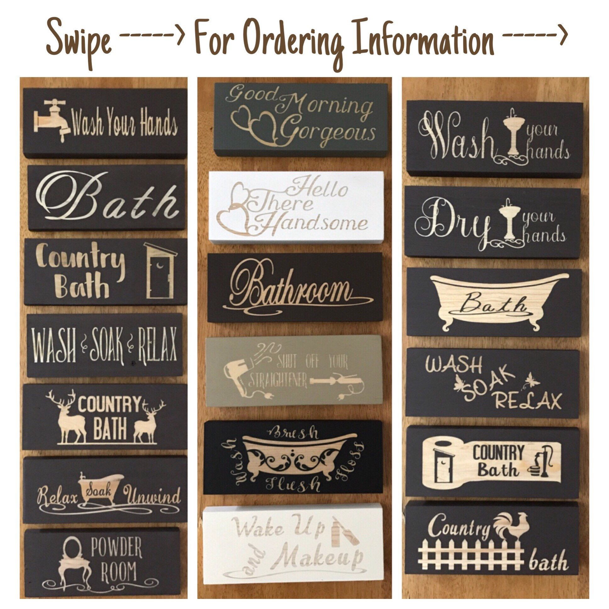 Bathroom Signs, Bathroom Decor, Wooden Signs, Powder Room Sign