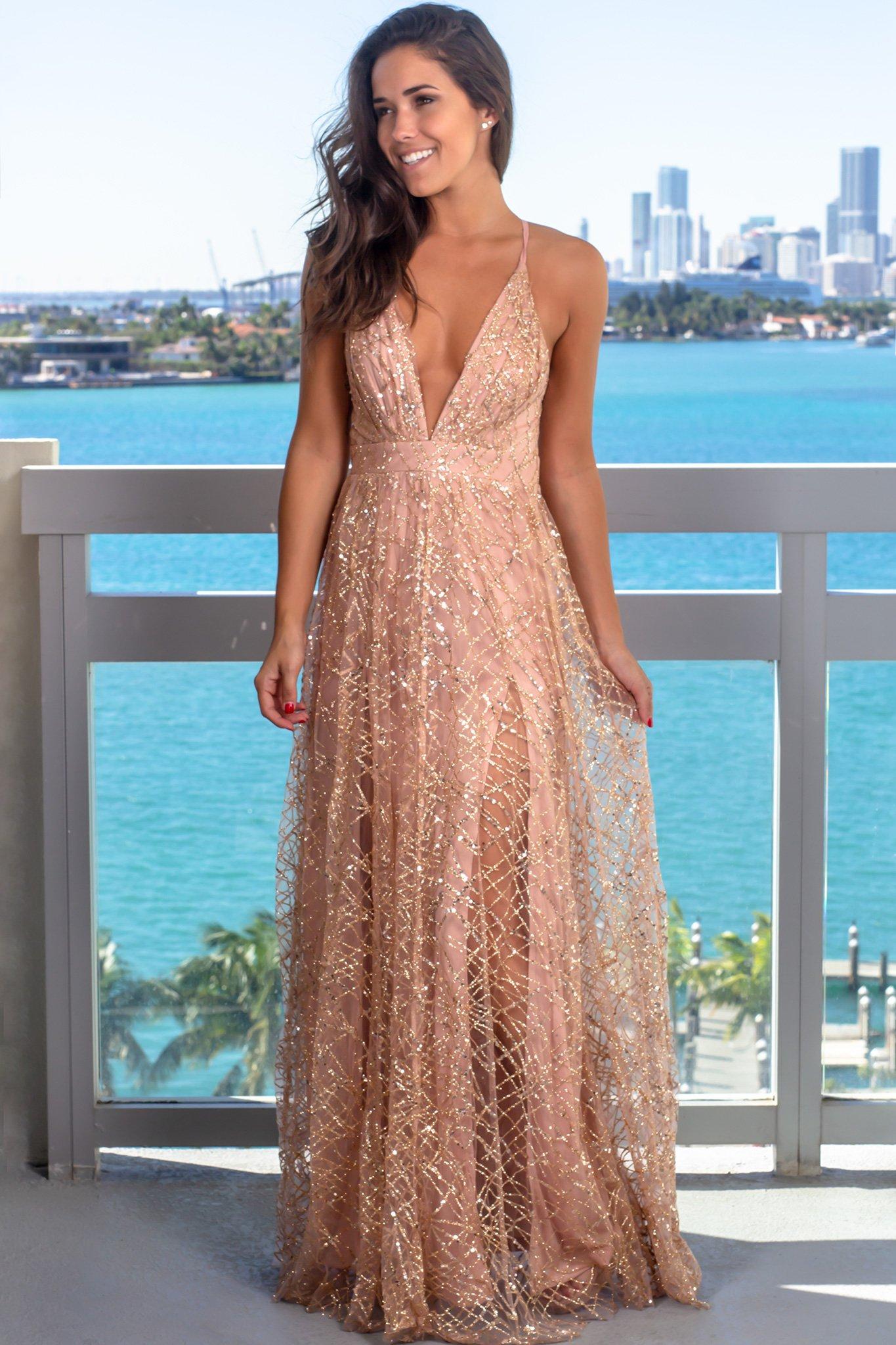 Rose Gold Maxi Dress With Sequins Gold Maxi Dress Dresses Printed Maxi Dress [ 2047 x 1365 Pixel ]