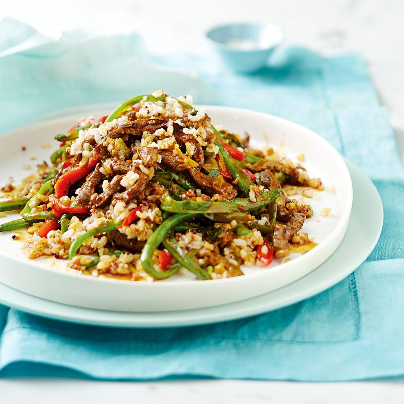 Stir Fried Beef Quinoa Recipes Food Magazine Food Dishes
