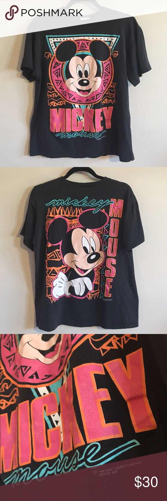 8263a736 Vintage 90s Mickey Mouse Disney World T-shirt Vintage 90s hip hop Mickey Mouse  shirt Vintage Tops Tees - Short Sleeve