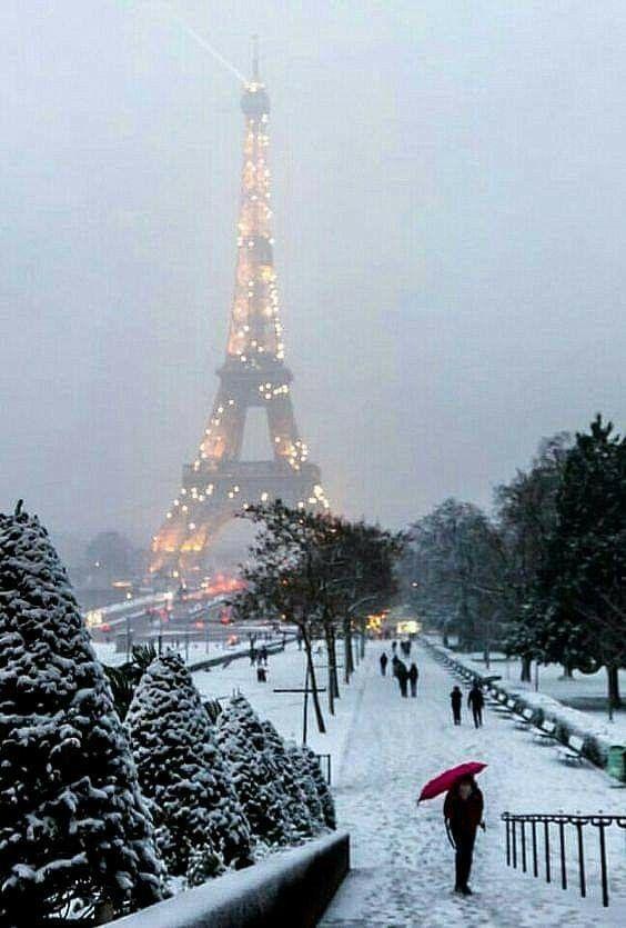 Paris De Mes Amours Neige Et Brume Sur Les Jardins Du Trocadero Hiver A Paris Paysage Vacances Voyage Paris