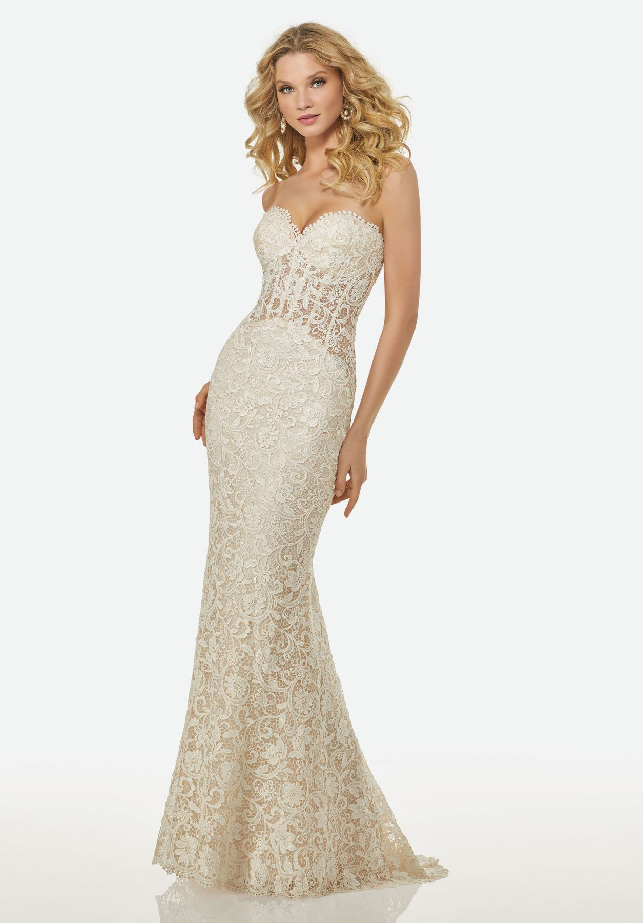 Olivia Dress With Lace Sheer Midriff And Center Back Et Randy Fenoli Style R3403