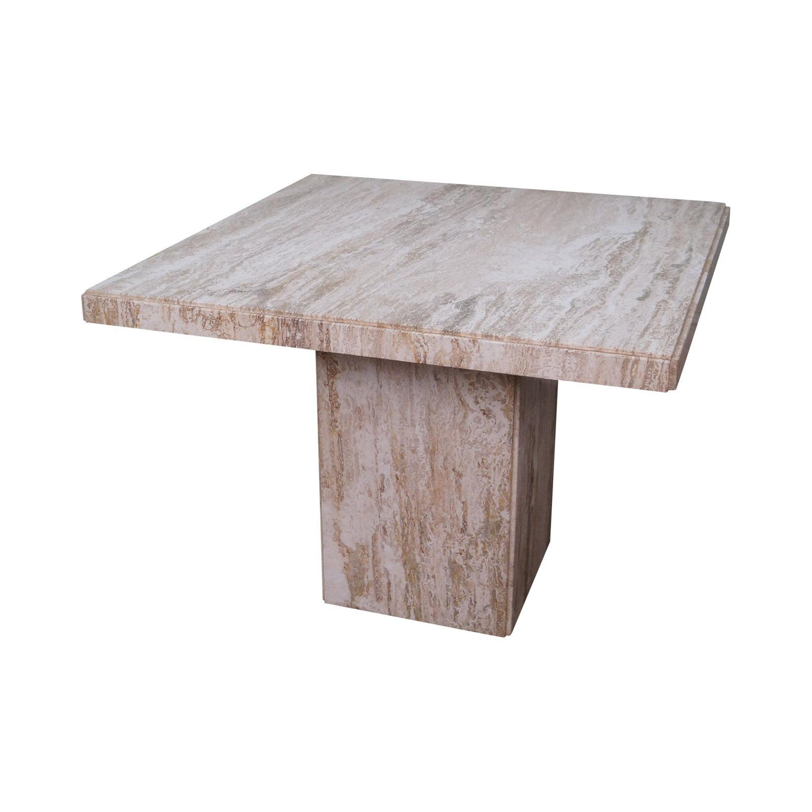 Mid Century Italian Travertine Square Marble Dining Table For Sale