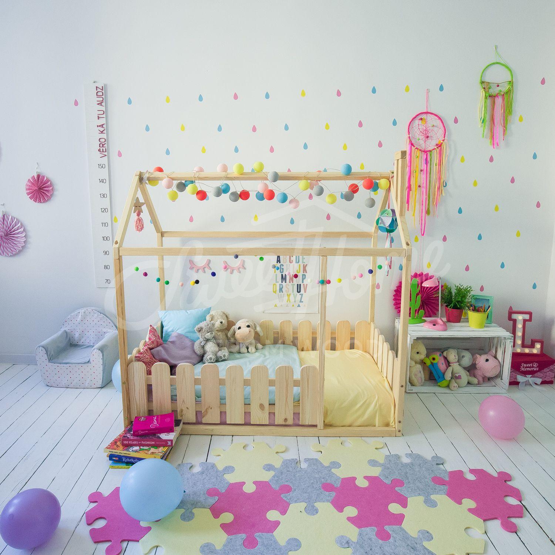 Candy Colors Girls Room Design, Children Bed, Montessori Bed, Floor