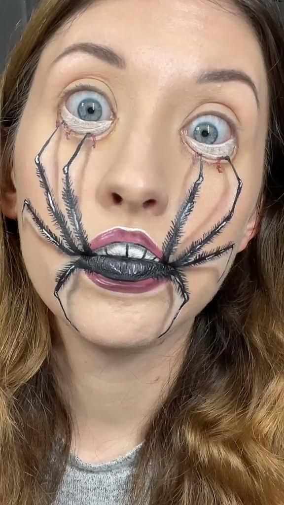 Spider Face Makeup Illusion
