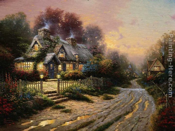 Thomas Kinkade Paintings for Sale | Thomas Kinkade Paintings - Thomas Kinkade Teacup Cottage Painting
