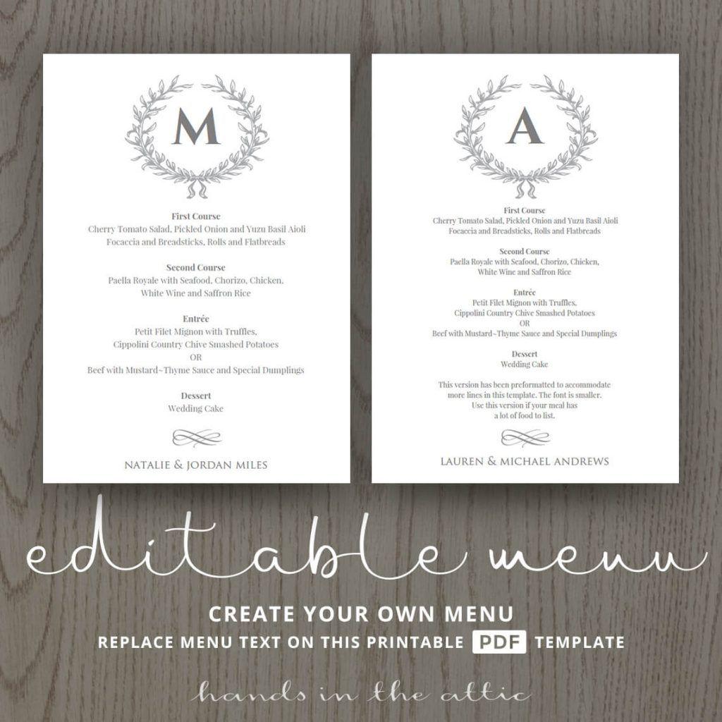 Elegant Wedding Food Menu Template