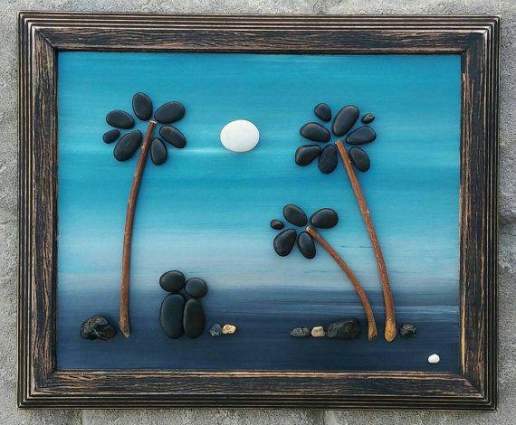 Pebble Art, Rock Art, Pebble Art couple, Rock Art Couple, palm trees ...