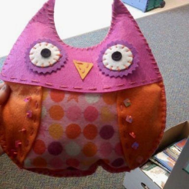 an owl pillow that my friend's daughter made for me