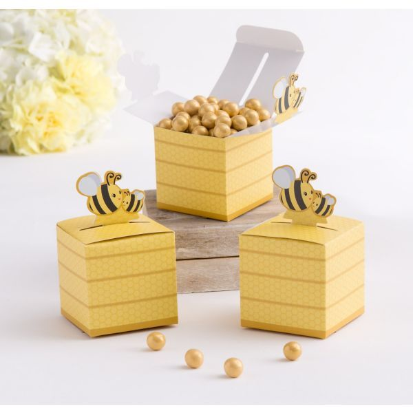 Thank Guests For Buzzing By With Bee Favor Boxes Each Cardstock Box Features An Allover Honeycomb Print And A Baby Bumble Mama Cutout Attached