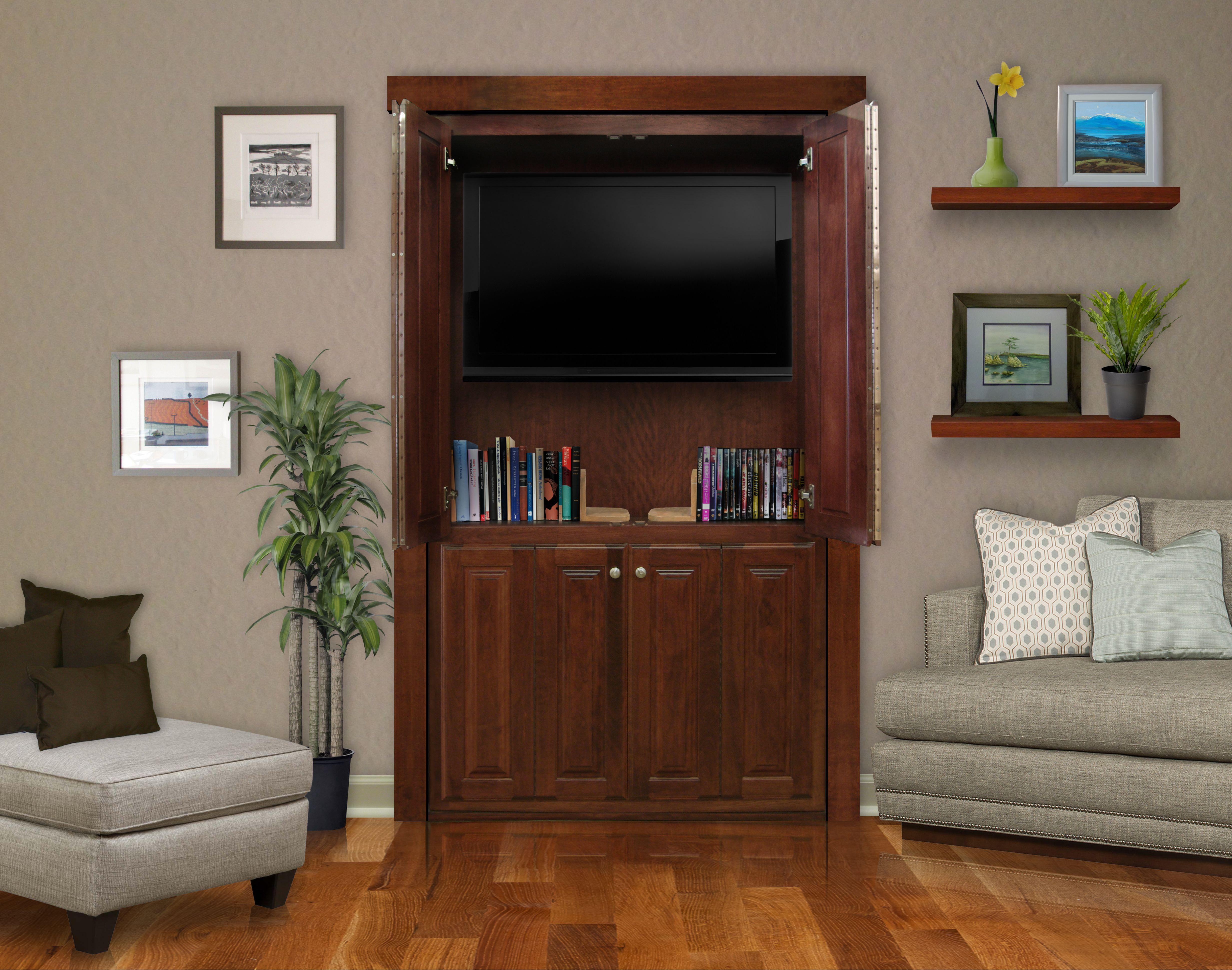 Murphy Door Tv Door In Closed Position With Tv Cabinet Open Hidden Door Bookcase Murphy Door Barn Door Decor