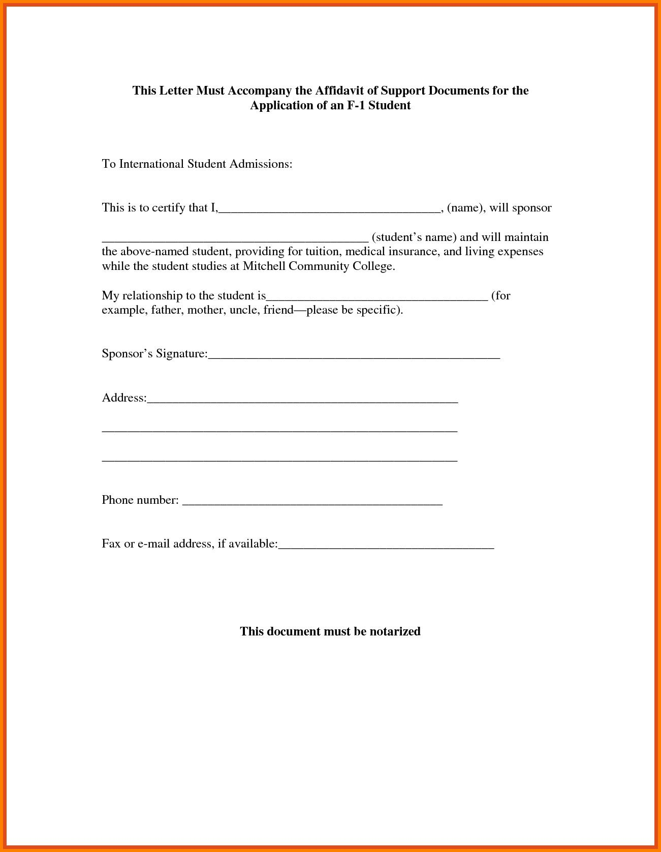 Affidavit Letter Of Support Example New 10 Example Of