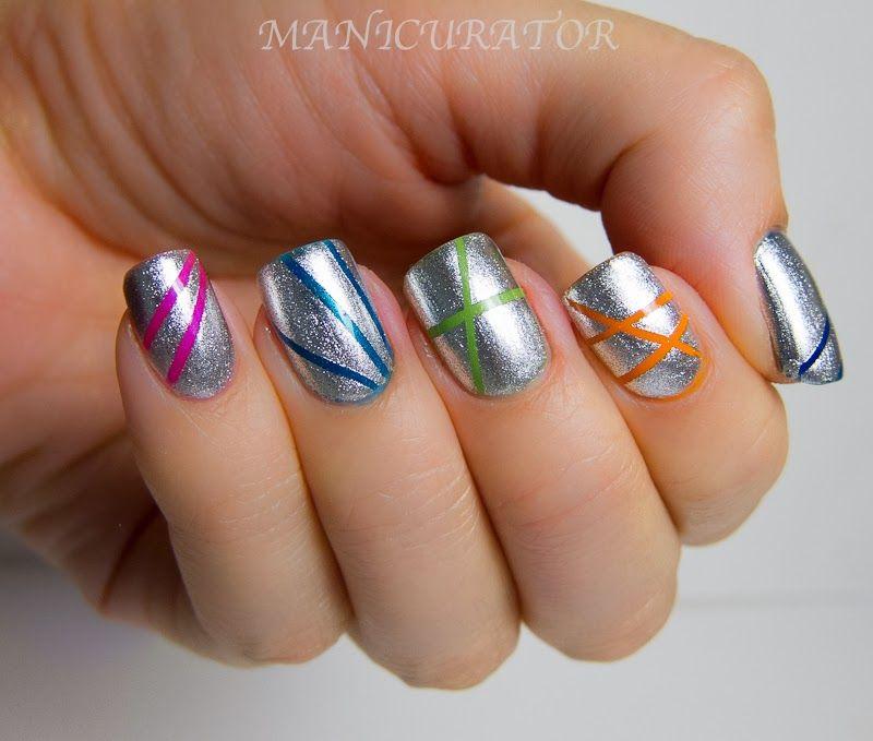 Concrete And Nail Polish Striped Nail Art: Nail Art Stripes, Makeup Nails Art, Nails