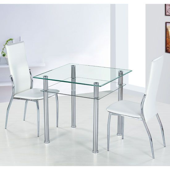 Como Clear Glass Dining Table and 4 Ivory Pisa Dining