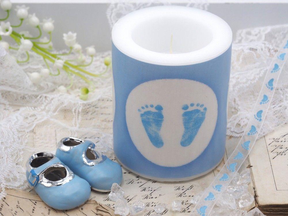 Kerze Babyfusse Hellblau Weiss Babyfusse Kerzen Und Baby