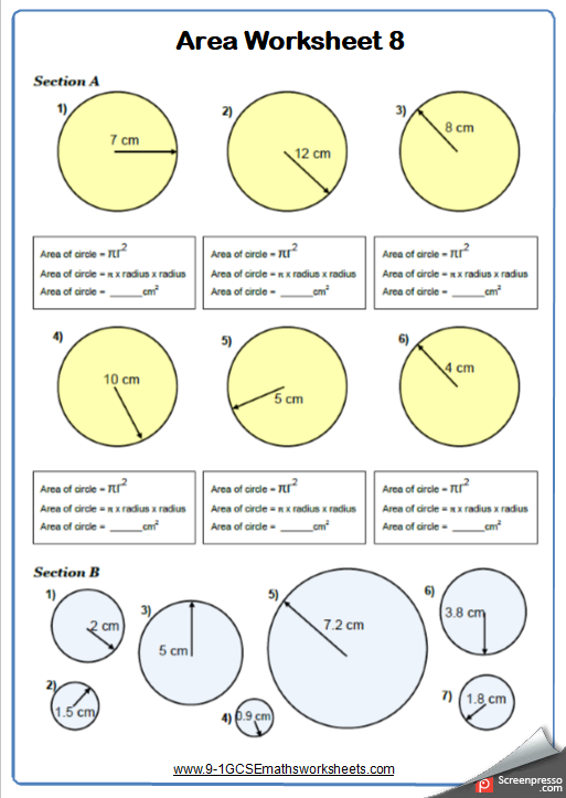 Area Of Circles Maths Worksheet And Answers 9 1 Gcse Foundation Grade 3 Year 8 Math Worksheet Area Worksheets Shapes Worksheets