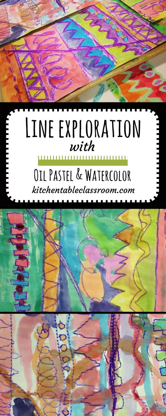 Line Exploration with Oil Pastel & Satercolor | Watercolor Arts ...