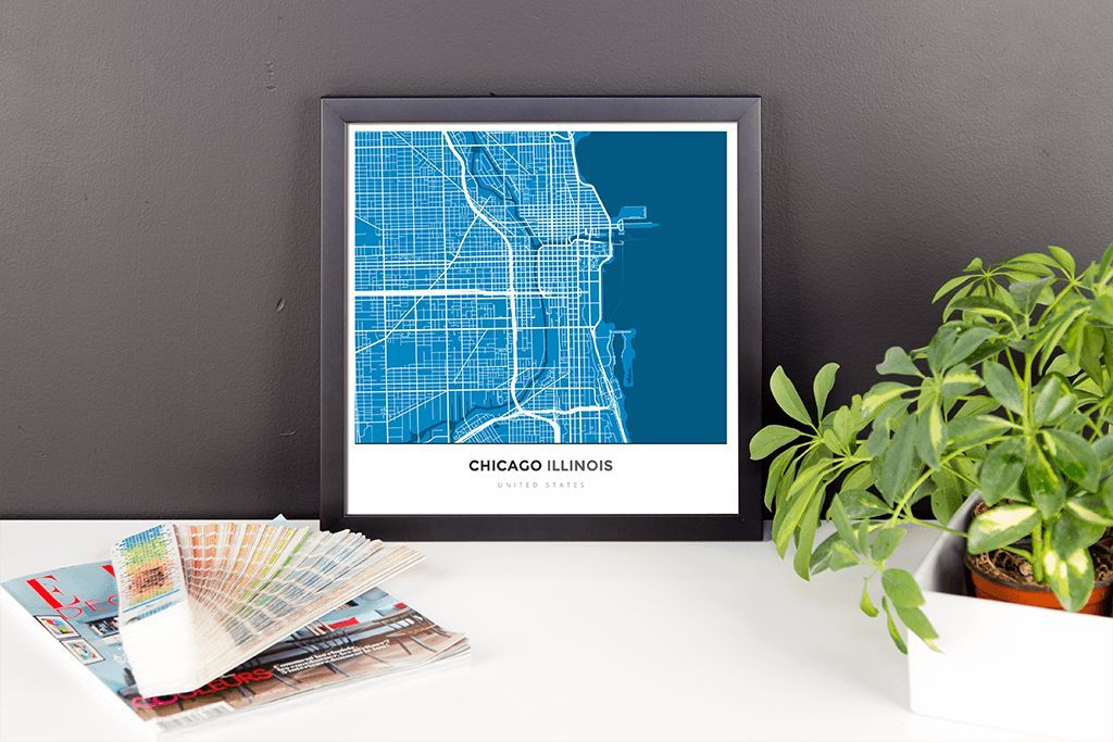 Framed Map Poster of Chicago Illinois - Simple Blue Contrast - Chicago Map Art