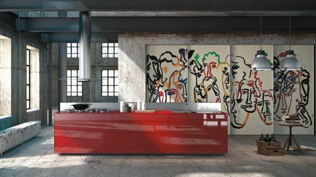 Küche Graffiti Rote Kochinsel Kreative Gestaltungsideen · ArtenItalienische  KuchenErschienenEdelstahlKreativeEinrichtungArchitekturLuxusküchenKleine  Küchen